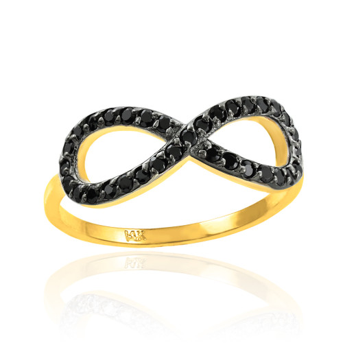 Black CZ Infinity Ring in Gold.