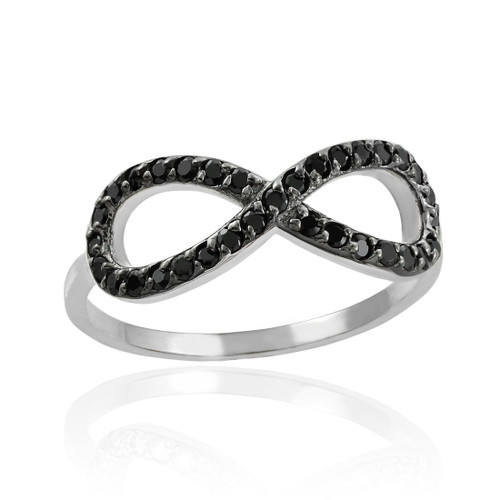 Black CZ Infinity Ring in White Gold.
