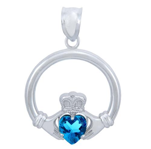 Silver Claddagh Blue CZ Heart Pendant (M)