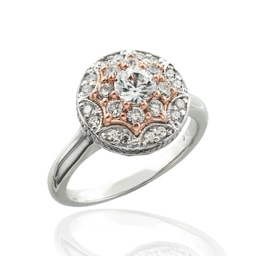 Double halo diamond engagement ring in 14k white and rose gold.