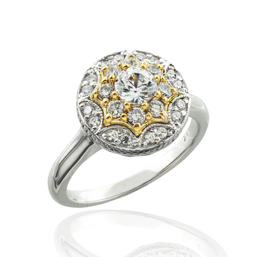 Double halo diamond engagement ring in 14k white and yellow gold.