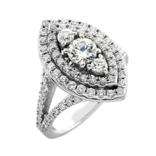 Marquise-shaped double halo diamond engagement ring in 14k white gold.