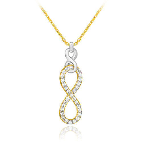 Vertical infinity necklace with clear cubic zirconia in 14k yellow and white gold.