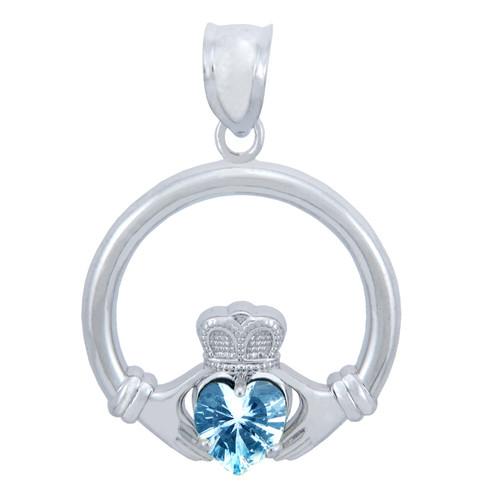 Silver Claddagh Aquamarine CZ Heart Charm Pendant (S)