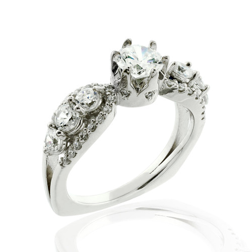 Multi-stone diamond engagement ring in 14k white gold.