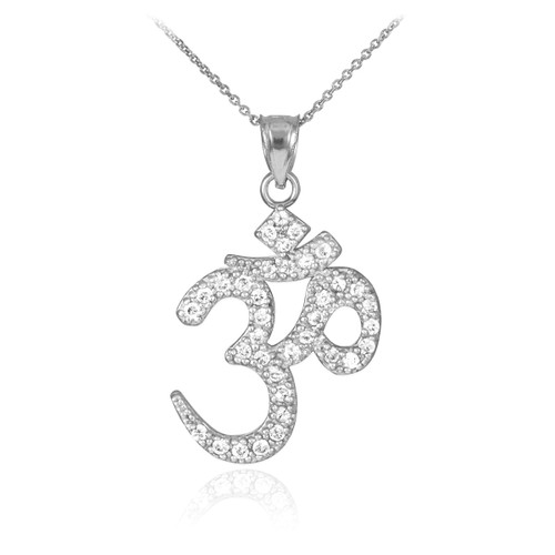 CZ Ohm/Om pendant necklace in 14k white gold.