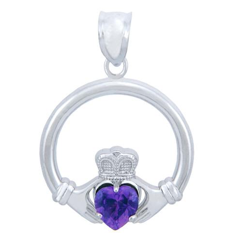 Silver Claddagh Amethyst CZ Heart Pendant (L)