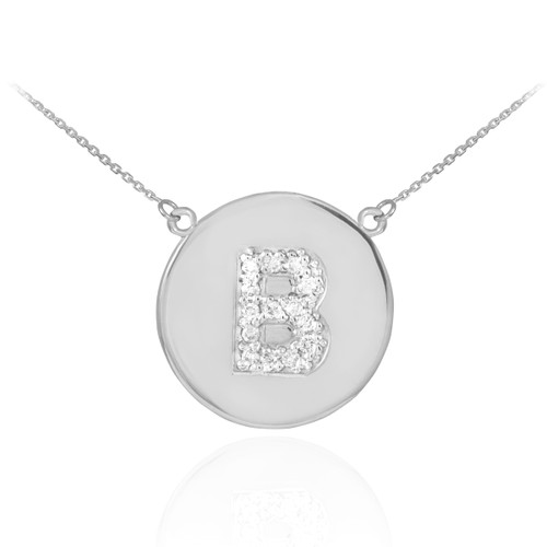 """Letter """"B"""" disc necklace with diamonds in 14k white gold."""