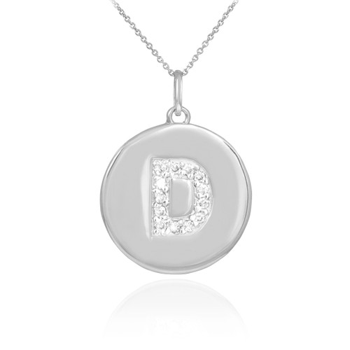 "Letter ""D"" disc pendant necklace with diamonds in 10k or 14k white gold."