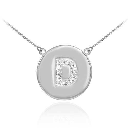 "Letter ""D"" disc necklace with diamonds in 14k white gold."
