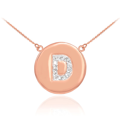"Letter ""D"" disc necklace with diamonds in 14k rose gold."