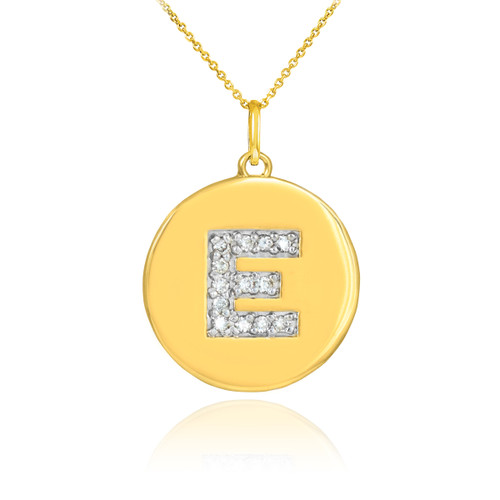 "Letter ""E"" disc pendant necklace with diamonds in 10k or 14k yellow gold."