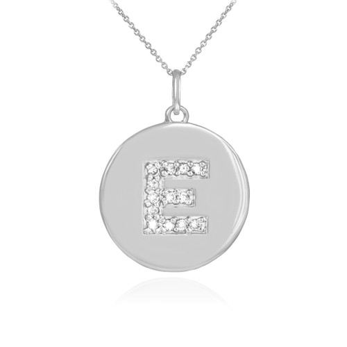 "Letter ""E"" disc pendant necklace with diamonds in 10k or 14k white gold."