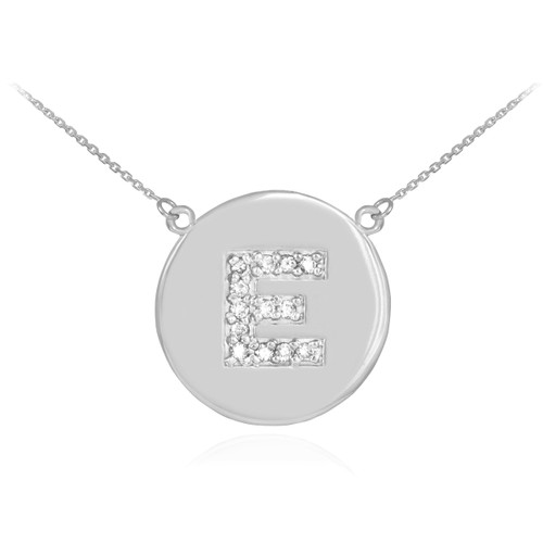 "Letter ""E"" disc necklace with diamonds in 14k white gold."