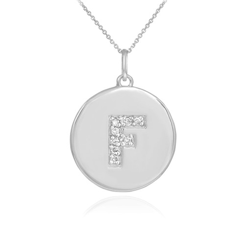 "Letter ""F"" disc pendant necklace with diamonds in 10k or 14k white gold."