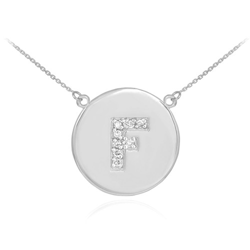 "Letter ""F"" disc necklace with diamonds in 14k white gold."