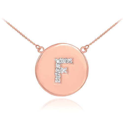 "Letter ""F"" disc necklace with diamonds in 14k rose gold."