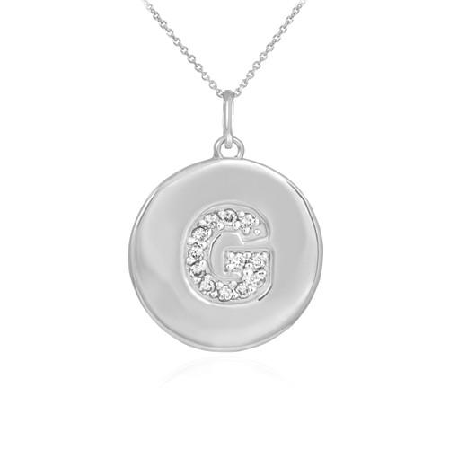 """Letter """"G"""" disc pendant necklace with diamonds in 10k or 14k white gold."""