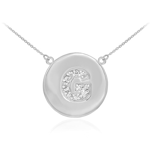 """Letter """"G"""" disc necklace with diamonds in 14k white gold."""