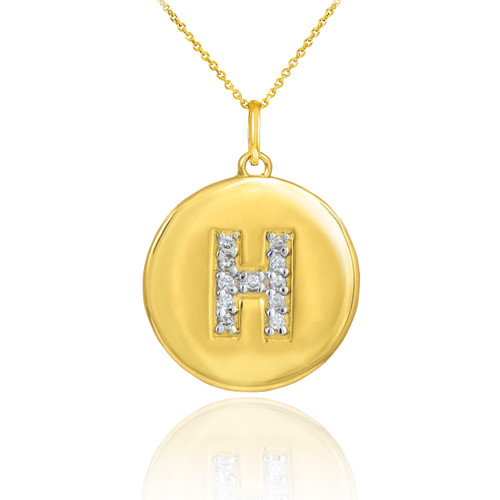 "Letter ""H"" disc pendant necklace with diamonds in 10k or 14k yellow gold."