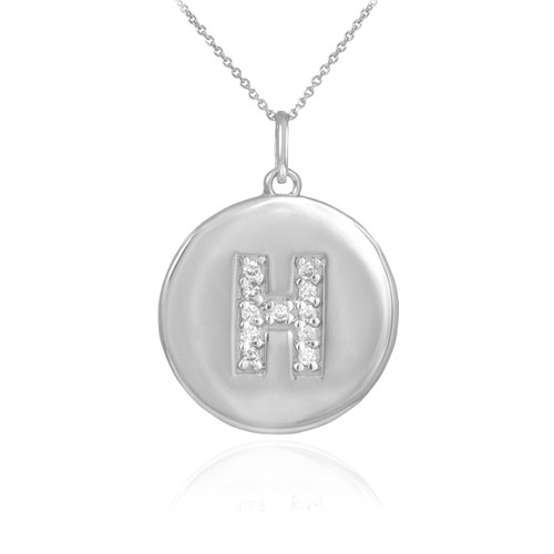 "Letter ""H"" disc pendant necklace with diamonds in 10k or 14k white gold."
