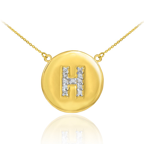 "Letter ""H"" disc necklace with diamonds in 14k yellow gold."