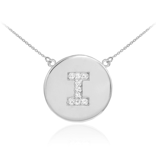"""Letter """"I"""" disc necklace with diamonds in 14k white gold."""