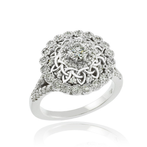 14k White Gold Celtic 1 ct Diamond Engagement Ring
