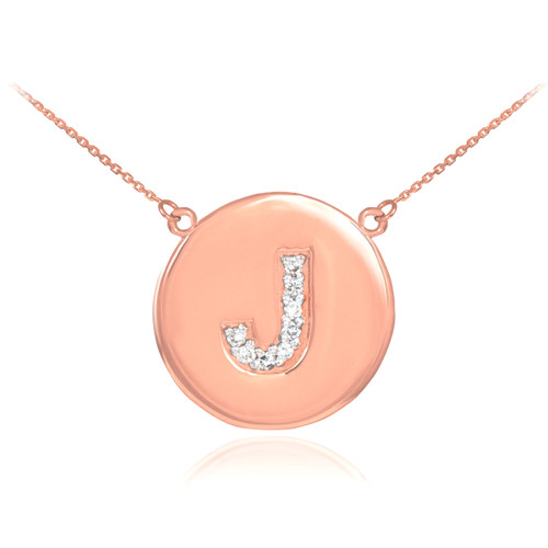 "Letter ""J"" disc necklace with diamonds in 14k rose gold."