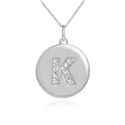 """Letter """"K"""" disc pendant necklace with diamonds in 10k or 14k white gold."""
