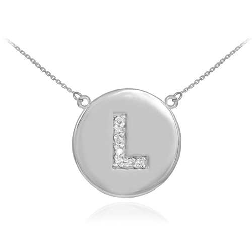 """Letter """"L"""" disc necklace with diamonds in 14k white gold."""