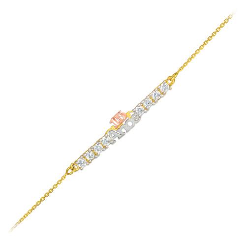 15-Anos Quinceanera Tri-Tone 14k Gold CZ Bracelet