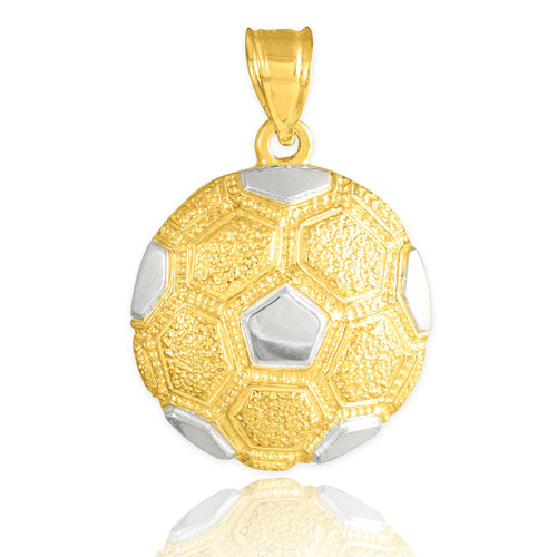 Two Tone Gold Textured Soccer Ball Sports Pendant