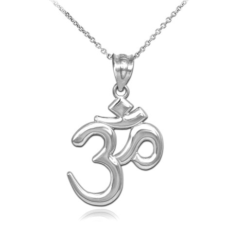 Solid White Gold Om/Ohm Pendant Necklace