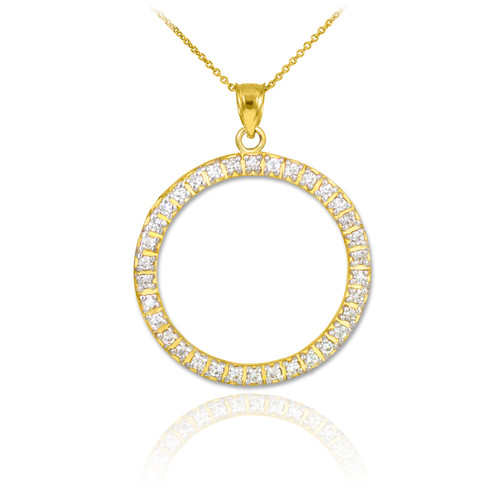 14K Gold Eternity Circle of Life CZ Pendant Necklace