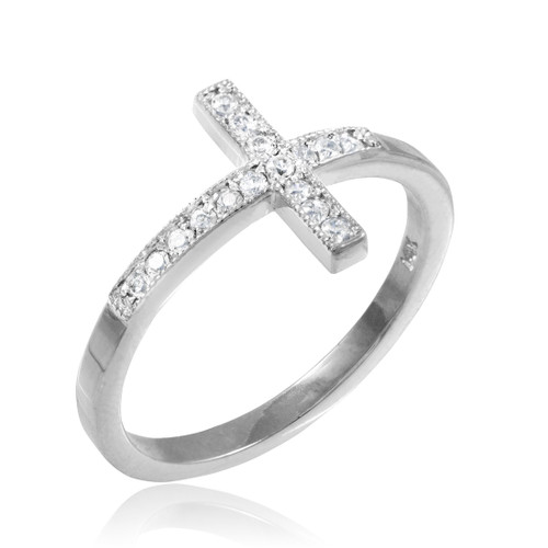 Silver CZ Pave Sideways Cross Ring