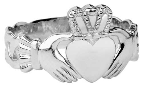 Sterling Silver Mens Claddagh Trinity Band