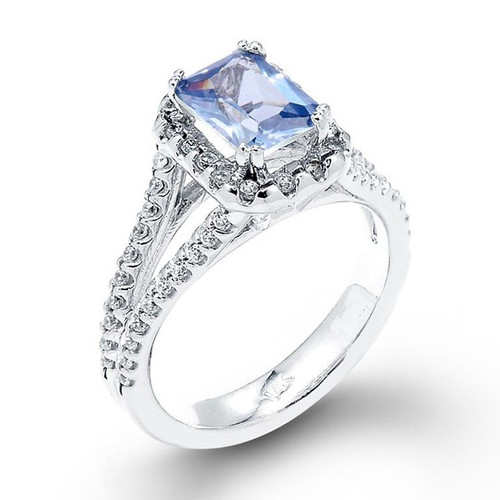 14k White Gold Aquamarine Halo Engagement Ring
