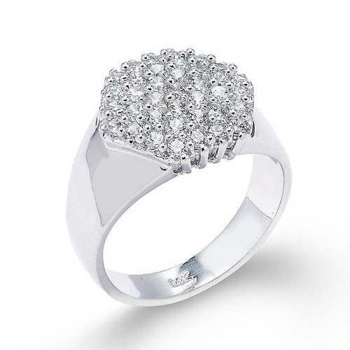 14k White Gold Diamond Cute Cluster Prong Ring