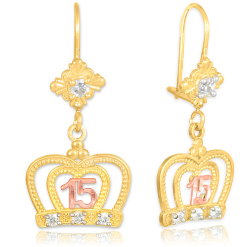 Two-tone Quinceanera Imperial Crown CZ Earrings