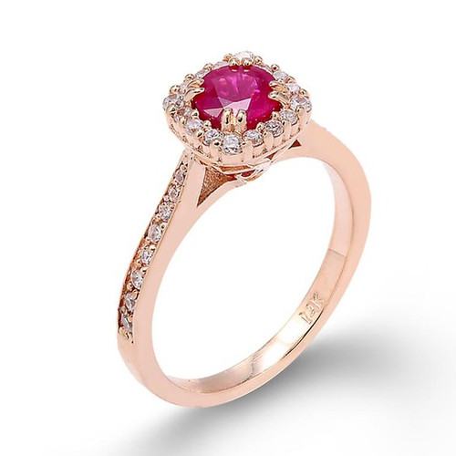 14k Rose Gold Ruby Engagement Ring