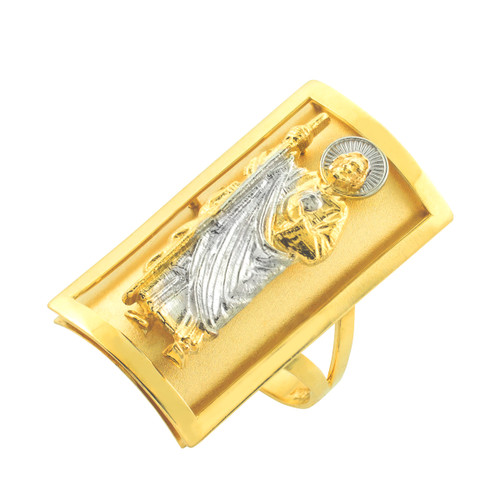 Two-tone Gold Saint Jude Fancy Ring 0.9 Inch