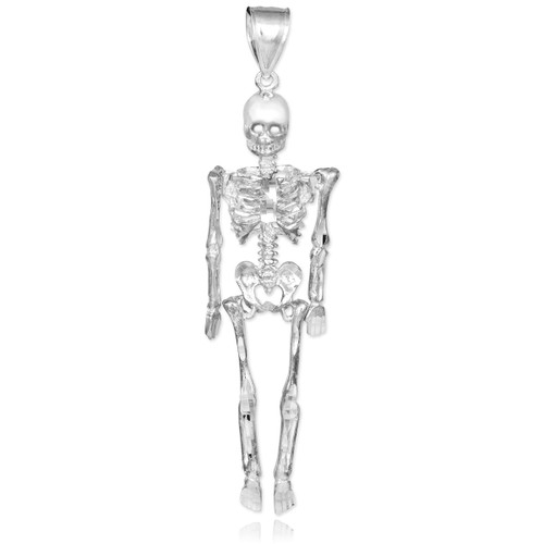 Silver 3D Skeleton Dangle Pendant