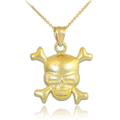 Gold Skull and Bones Pendant Necklace