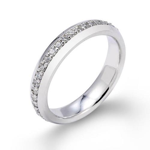 14k White Gold Eternity Diamond Wedding Band