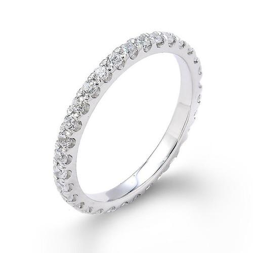 14k White Gold Diamond Studded Eternity Wedding Band