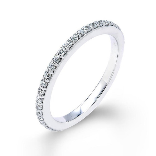 14k White Gold Thin Diamond Studded Eternity Wedding Band
