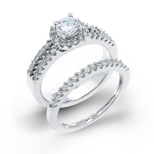 14k White Gold 3 Row Diamond Halo Engagement Set of 2 Rings