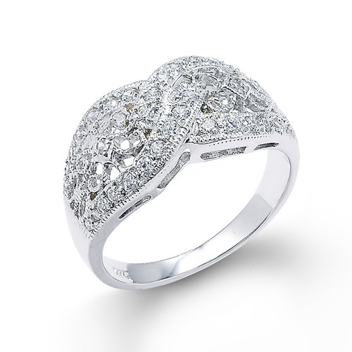 14k White Gold Knot Design Filigree Diamond Ring