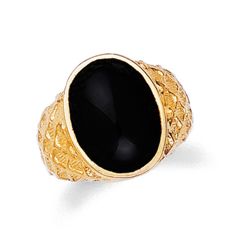 Gold Onyx Mens Oval Ring